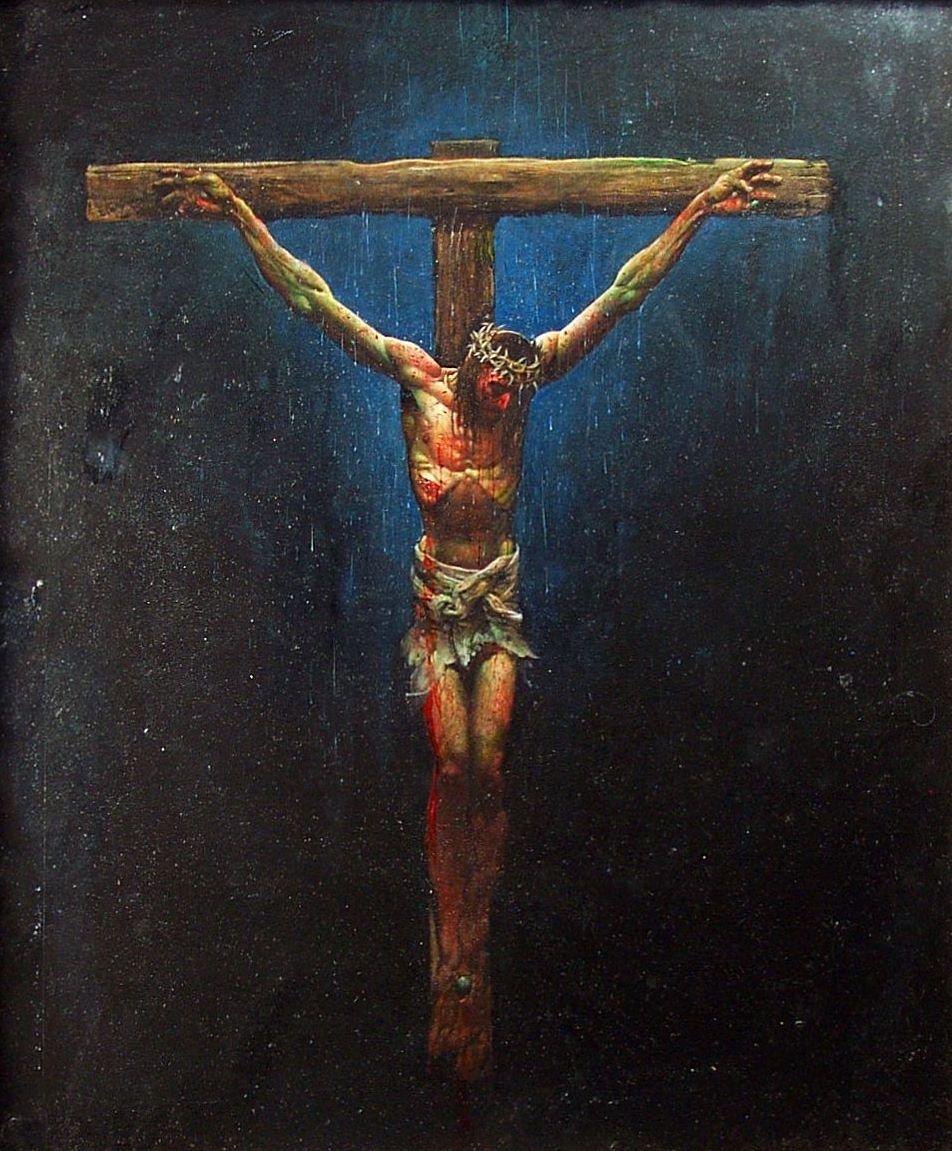Full color painting of Jesus on the cross by Simon Bisley