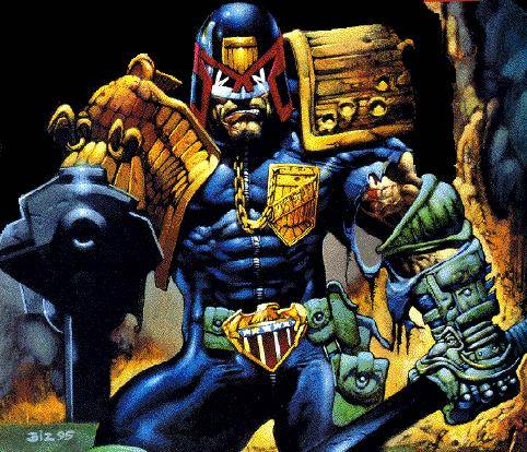 Judge Dredd points his gun at you