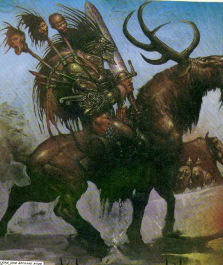 Slaine riding an elk