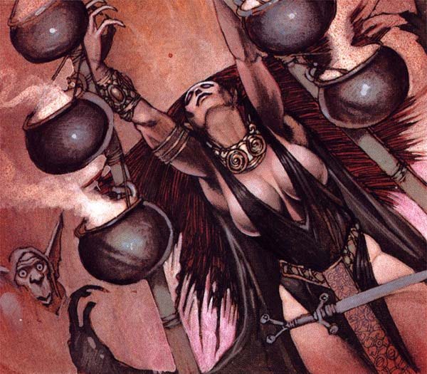 Simon Bisley draws a dark haired female sorceress